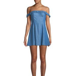NWT LOVERS + FRIENDS Denim Chambray Mini Dress L